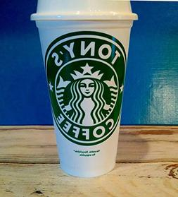 Personalized STARBUCK's 16 oz Reusable Coffee Travel Cup & L