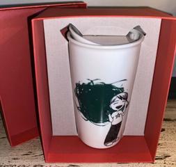 STARBUCKS Ceramic 12 oz Tumbler Boy Painter Green Dot Travel