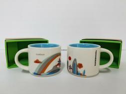 Lot of 2 Starbucks Mini Coffee Mug 'You Are Here' Collection