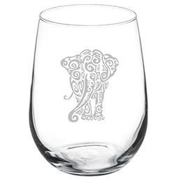 17 oz Stemless Wine Glass Tribal Elephant