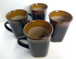 Stoneware Coffee Mug Set of 4 Tall Cup Black Brown Royal Nor