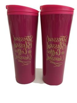 Stressed Blessed and Coffee Obsessed Pink 12oz Plastic Tumbl