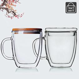 Set of 2 Strong Clear Glass Double Wall Coffee Mug Tea Espre