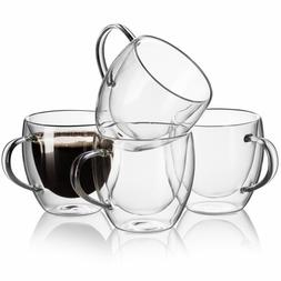 Set of 4 Strong Clear Glass Double Wall Coffee Mug Tea Espre