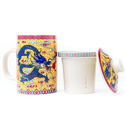Golden porcelain Chinese Emperor Dragon Tea Cup, with loose