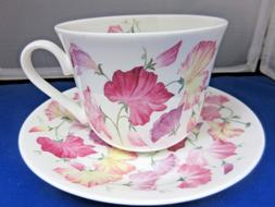 SWEET PEA PINK , BONE CHINA  BREAKFAST CUP SAUCER, ROY KIRKH