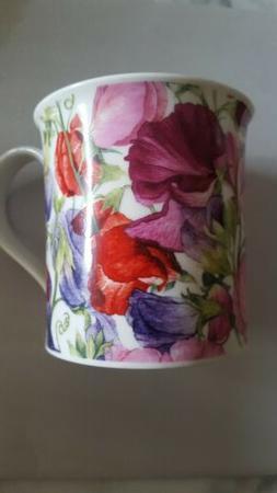 SWEET PEAS FLORAL FINE  BONE CHINA mug DUNOON Made in Englan