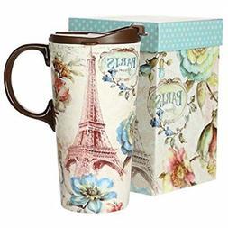 Tall Ceramic Travel Mug 17 oz. Sealed Lid With Gift Box Pari