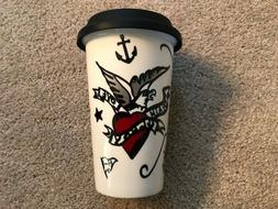 Tattoo Porcelain Hot/Cold Travel Mug with Silicone Lid - New