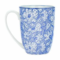 Tea Coffee Mug Patterned Porcelain Restaurant Cups - Blue an