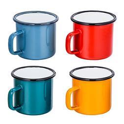 Tea Coffee Mug Set of 4, Enamel Drinking Mugs Cups NEW