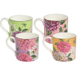 PULCHRITUDIE Tea Coffee Mug Sets, English Style Gold Rim Bon