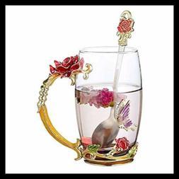 Tea Cup Coffee Mug Cups W Spoon Handmade Butterfly ROSE Glas