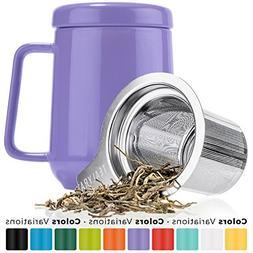 Tealyra - Peak Ceramic Purple Tea Cup Infuser - 19-ounce - L
