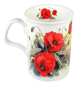 Roy Kirkham Tea Mug Poppy Flower & Bee Fine Bone China Engla