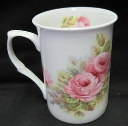 Tea or Coffee Mug 10 oz. -  Fine Bone China, Pink Roses, Mad