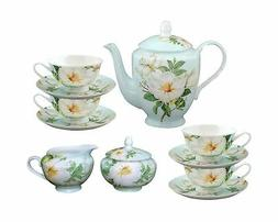 Gracie Bone China 11-Piece Tea Set, Blue White Magnolia