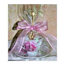 Set of 4 Tea Theme Pink Morning Tea Cup  Tea Party Favors wi