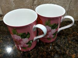 Stechcol Gracie Bone China 2 Coffee Tea - Mugs Floral Pink O