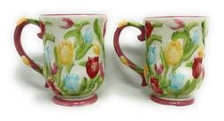 Temp-tations S/2 Figural Floral Dinnerware Mug, Cafe Coffee