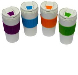 Thermal-16 oz Travel Coffee Mug Cup Flip Lid with-Rubber-Han
