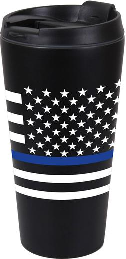 Rothco Thin Blue Line SS Black Travel Cup Mug 16oz Police La