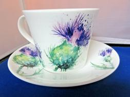 THISTLE BREAKFAST CUP SAUCER, ROY KIRKHAM. MADE IN ENGLAND,