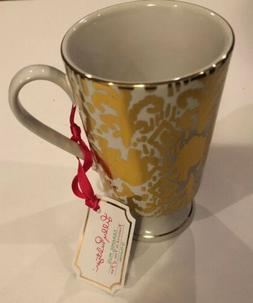 Tons Of Fun Lilly Pulitzer Gold, White, NEW, Coffee Cup Mug.