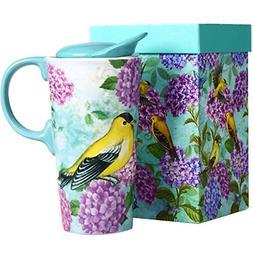 Travel Coffee Ceramic Mug Porcelain Latte Tea Cup W Lid 17Oz