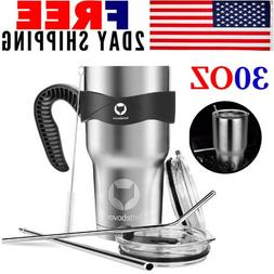 Travel Coffee Mug Handle Stainless Steel Cup Portable Safe H