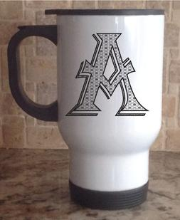 Travel Coffee Mug Stainless Steel White Monogram Personalize