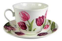 Roy Kirkham Tulip Garden Breakfast Teacup and Saucer Set Fin