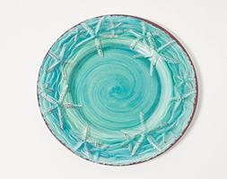 Galleyware Turquoise Raised Starfish Melamine Dinner Plate,