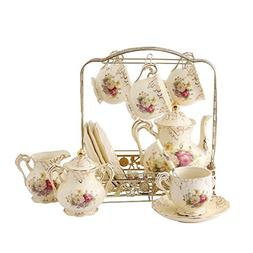 ufengke 11 Piece Creative European Luxury Tea Set, Ivory Por