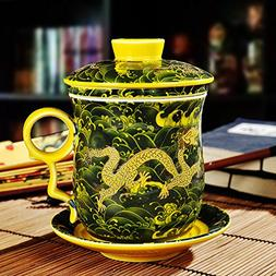ufengke Oriental Modern Bone China Ceramic Tea Cup With Lid