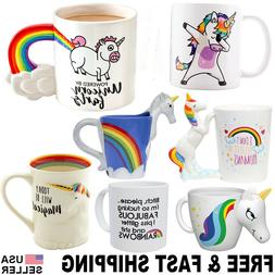 Unicorn Mug 3D Color Changing Coffee Cup Rainbow Tea Set Dab