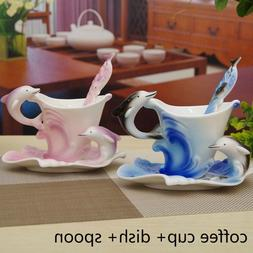 Unique Blue/ Pink Dolphin Pattern Porcelain Coffee/ Tea Cup