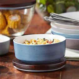 Libbey Urban Story Ceramic Bowl with Lid, Medium, Blue
