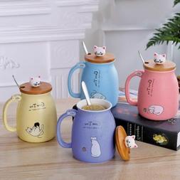 US 450ML Cute Cat Kitty Mug Design Rounded Cup Coffee Tea Cu