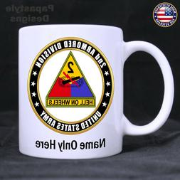 US Army 2nd Armored Division Personalized 11oz Coffee Mug. M