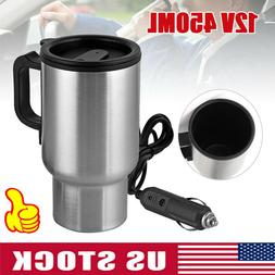 USA 12V Electric Heated Travel Mug Stainless Steel Coffee Te