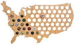 "USA Beer Cap Map - Solid 0.25"" Thick - 69 Piece Wood Bottle"