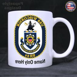 USS Wisconsin Personalized 11oz. Coffee Mug. Made in the USA