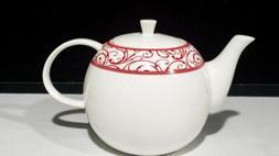 Ciroa~ 'Veluto' Red Swirl On White Teapot Fine Bone Chin