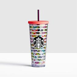 Starbucks Venti 24oz Colorful Floral and Stripes Cold Cup Wi