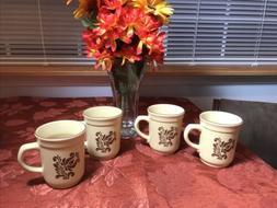 "Pfaltzgraff ""Village""  Mugs  Bown & Cream USA Mark"