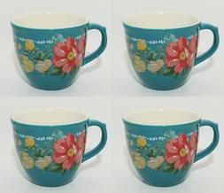 The Pioneer Woman Vintage Floral Teal 16 Ounce Mug Set Set o