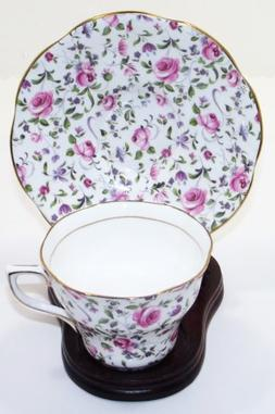 Vintage Queens Pattern By Rosina Bone China Cup And Saucer