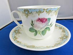 VINTAGE ROSE  BREAKFAST CUP SAUCER KIRKHAM Fine Bone China.