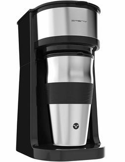 Vremi Single Cup Coffee Maker with 14 Oz Travel Mug and Reus